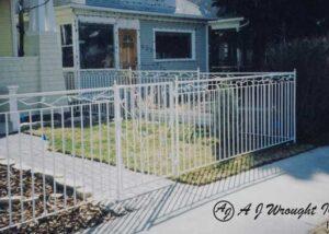 iron fence - leaf vine design - white finish