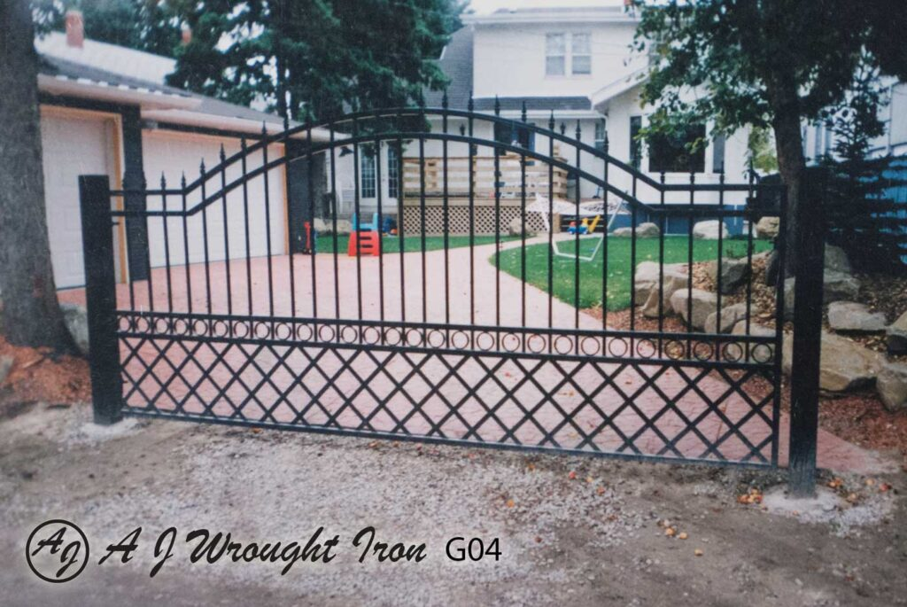 lattice design wrought iron driveway gate