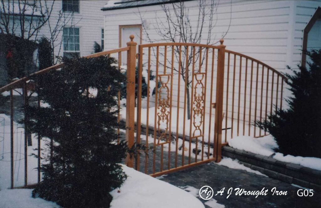 arched garden gate - orange finish - calgary