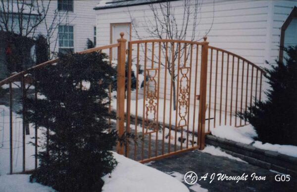 arched garden gate - orange finish - calgary