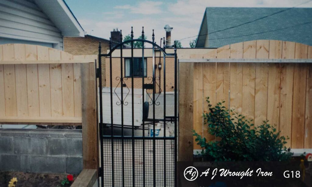 decorative Iron and Mesh garden gate