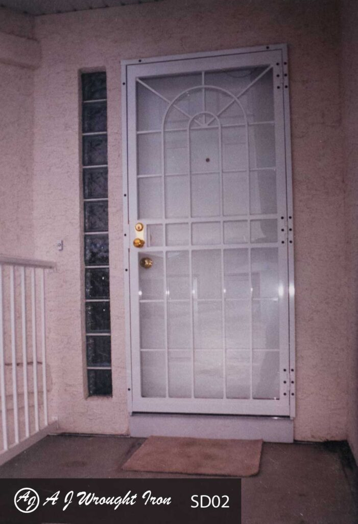 white residential security door - arch design