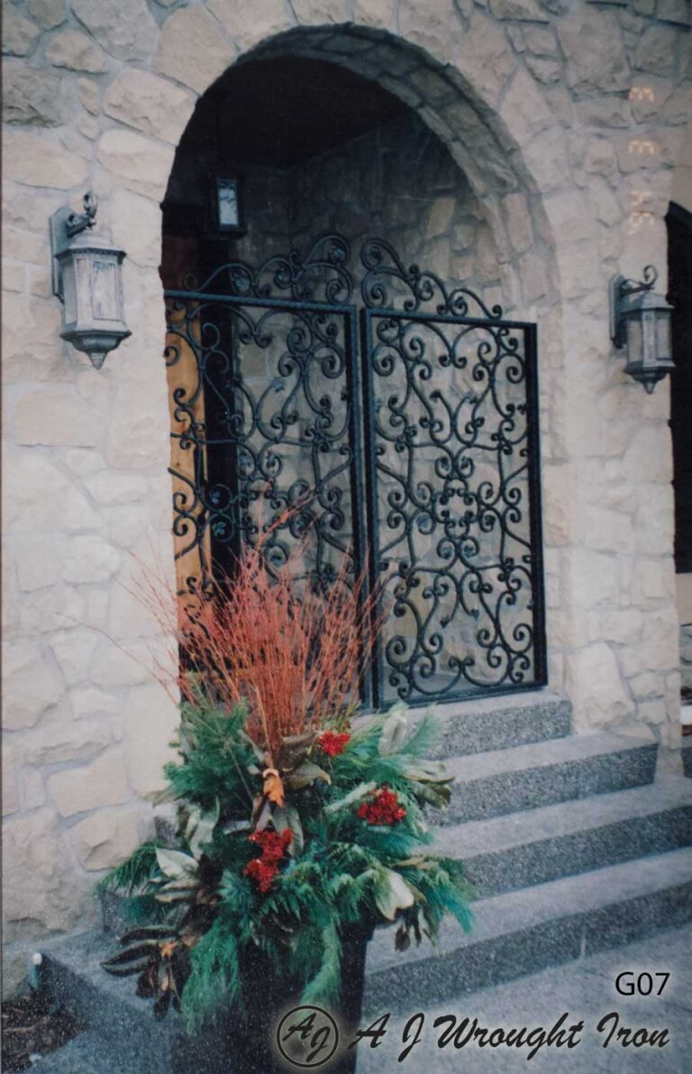 scroll motif iron security gate