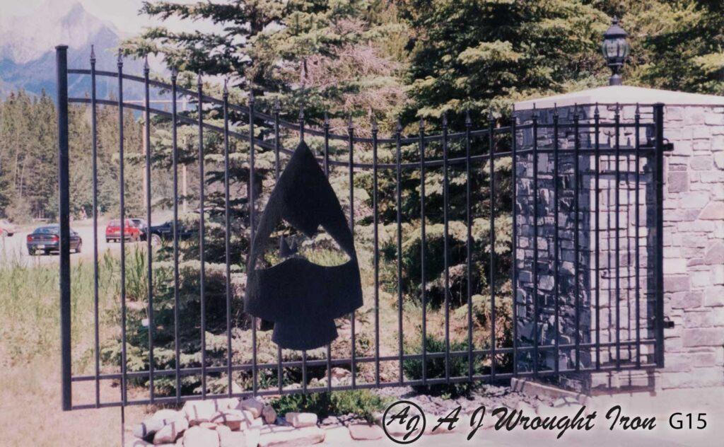 custom metal driveway gate - Kananaskis Golf Course