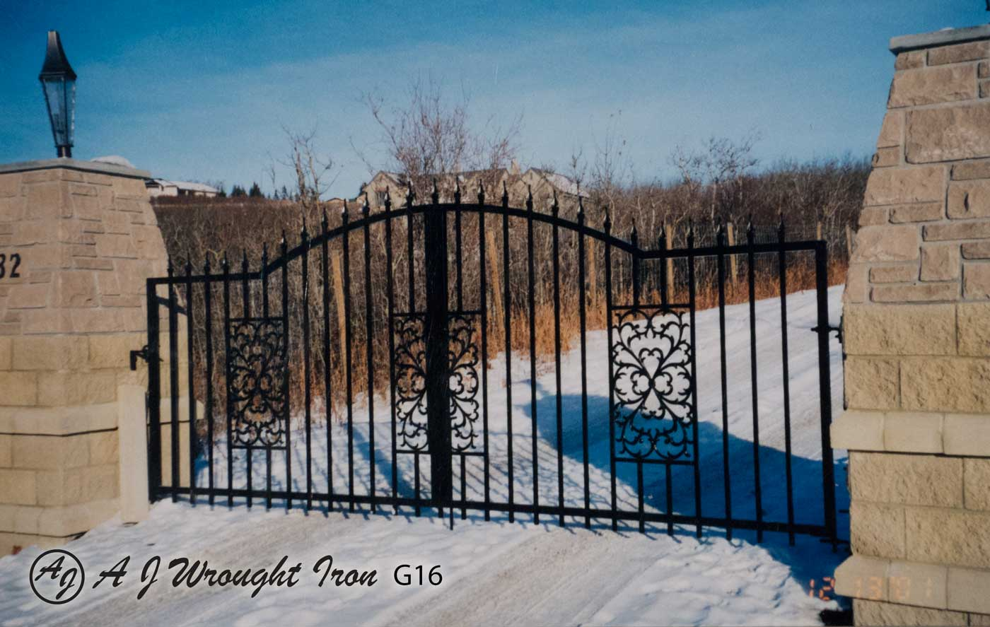 Arched wrought iron driveway security gate