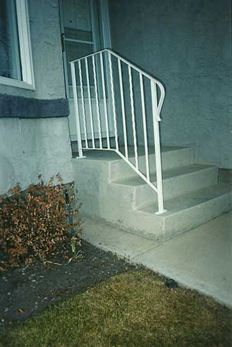 white front step railing