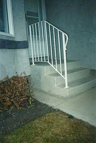 white front step railing