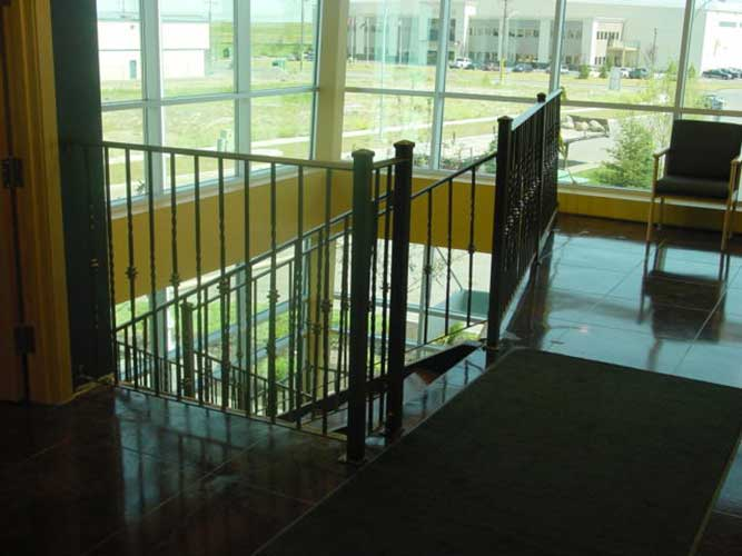 wrought iron railing with spun spindles