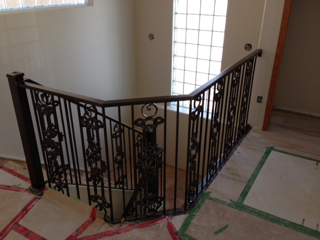 interior railing with castings and circles