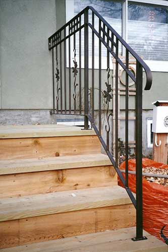 front step metal handrail grape n vine design