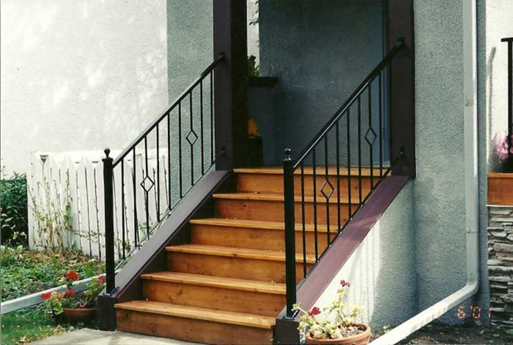 metal handrail for front steps of house