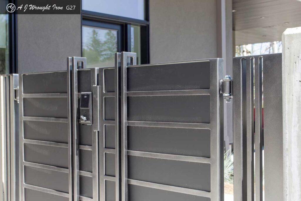 modern driveway gate - minimalist design with lock