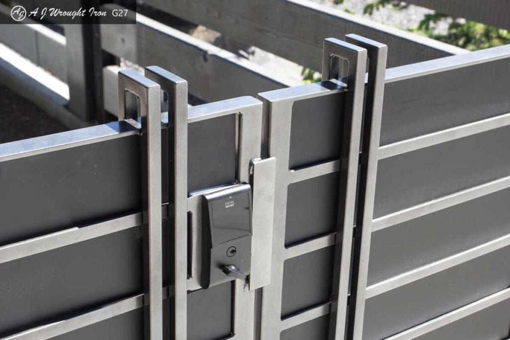 closeup of locking metal security gate