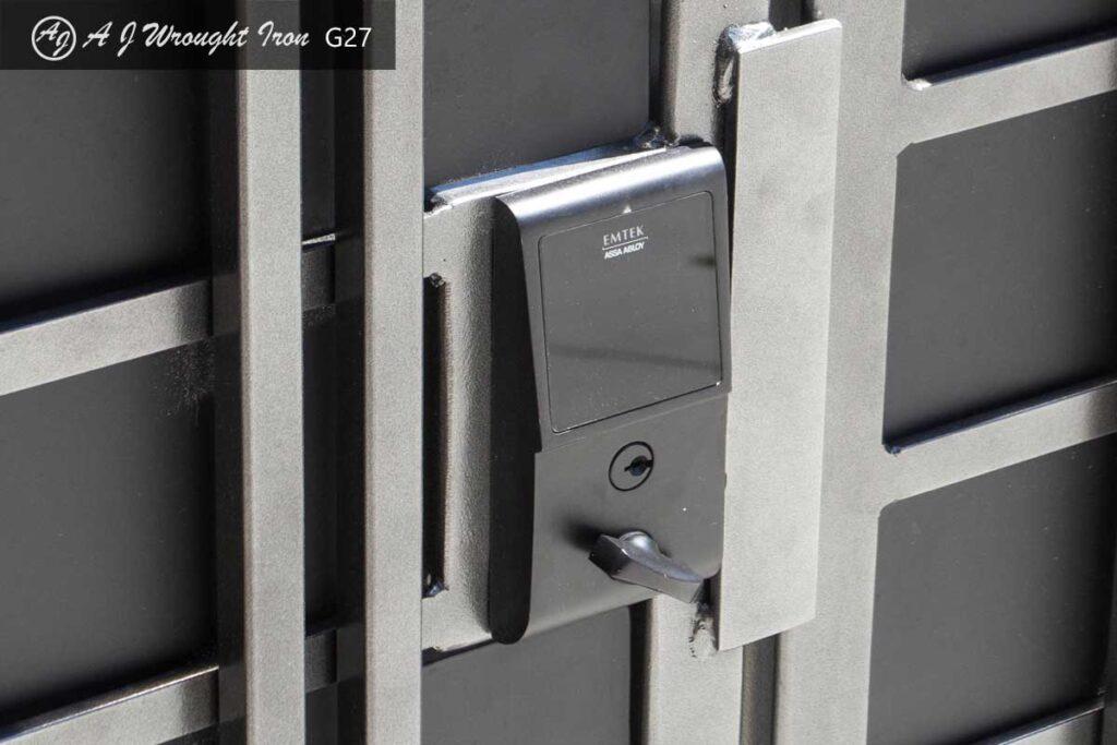 close up of modern security gate lock