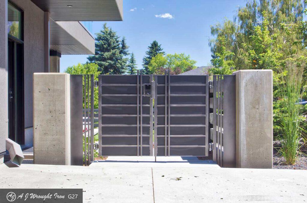 elevation photo of minimalist aluminum security gate