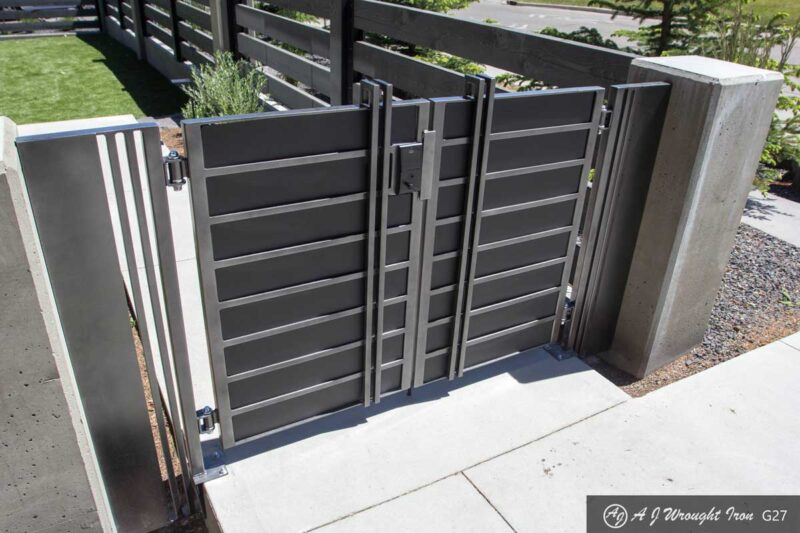 angle view of solid aluminum security gate