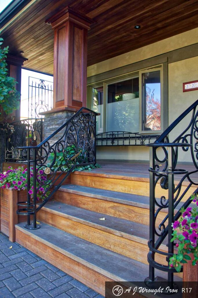 beautiful forged front step railing