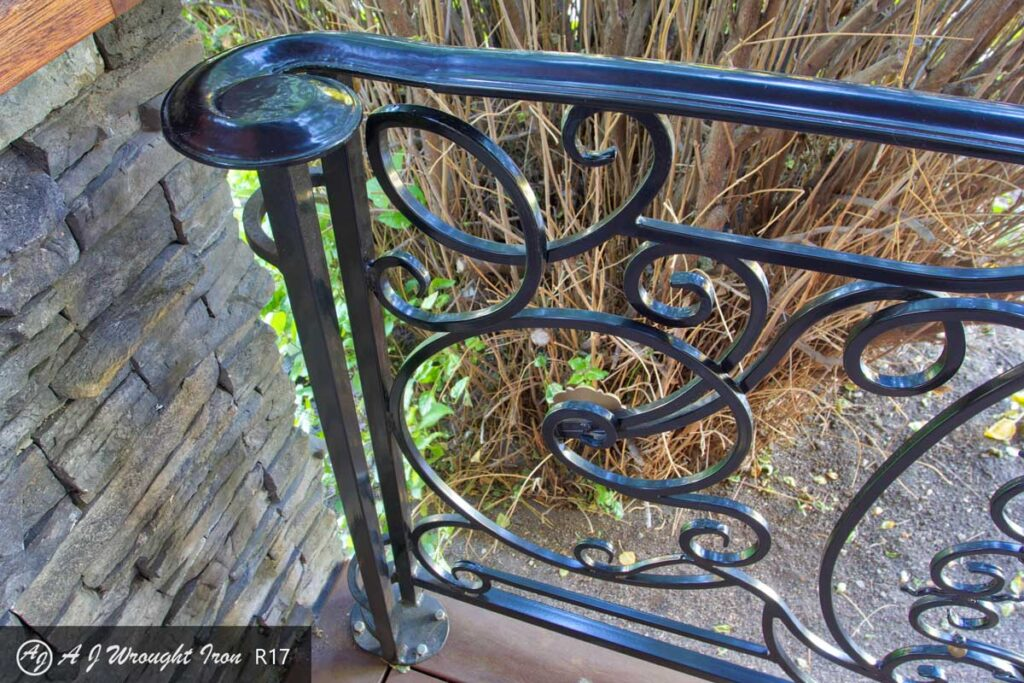decorative iron railing and end cap