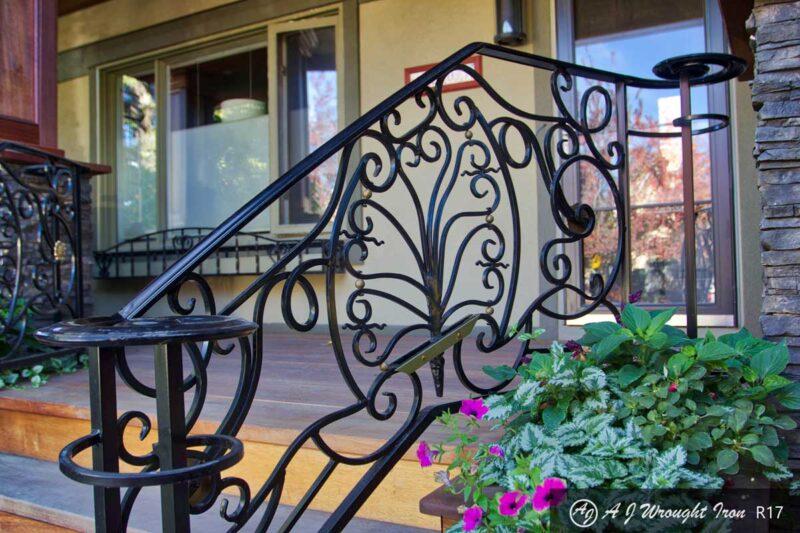 elegantly curved iron railing design Calgary