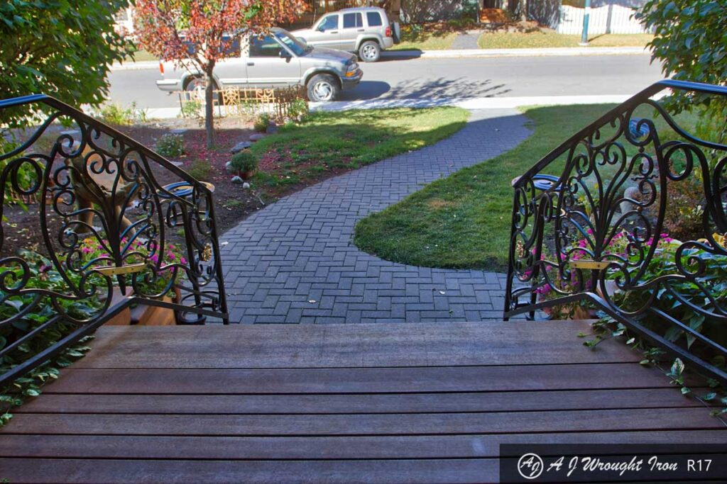 forged iron front step railing