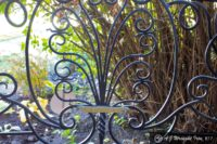 iron railing plant motif with twisted iron trunk