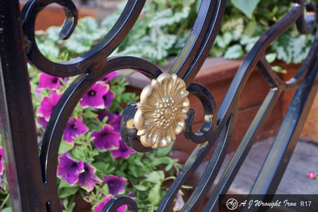 railing ornamentation detail - gold medallion