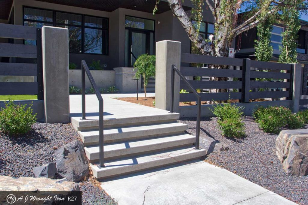 simple exterior step railing