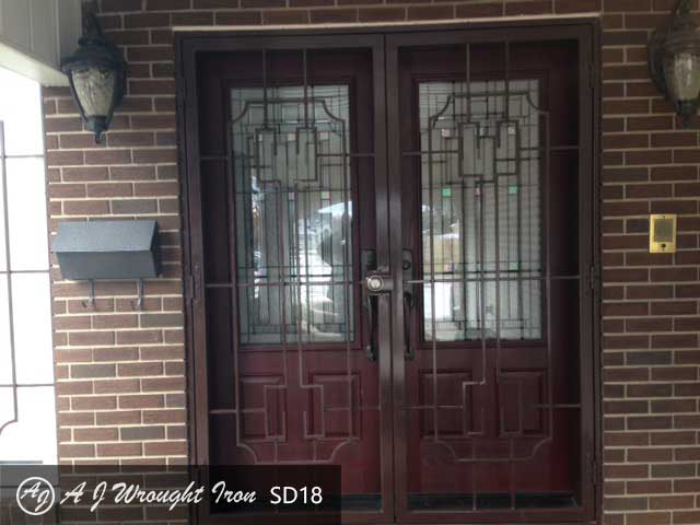 security storm door Calgary - double doors - brown
