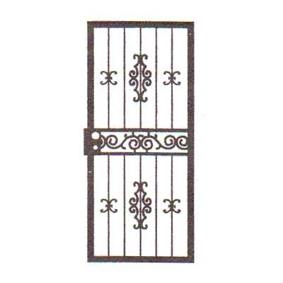 security bars for door - vertical bars with small castings and ornamental horizontal