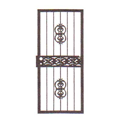 security bars for door - vertical bars with center castings and ornate middle