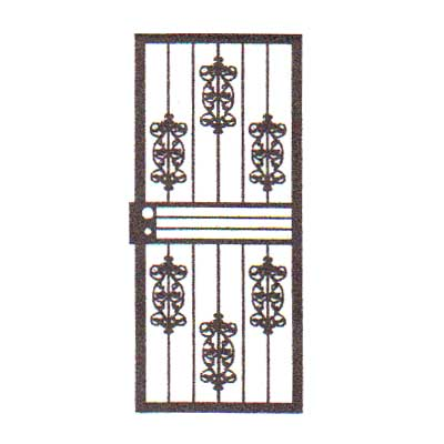security bars for door - vertical bars with six castings