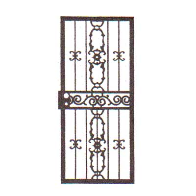 security bars for door - vertical bars with vertical ornamentation