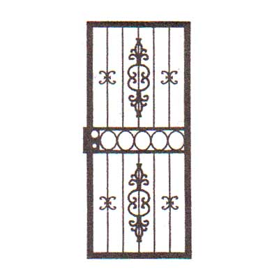 security bars for door - vertical bars with small castings & ornate vertical castings