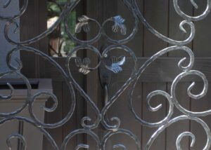 Ornamental wrought iron security gate
