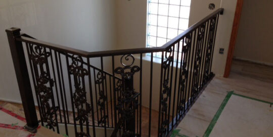 interior stair railing with castings and circles