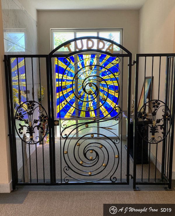 ornamental forged iron security gate - interior