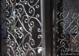 custom gates, closeup of wrought iron vine design