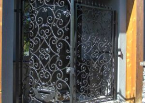 Custom iron gate - double door with lock and mail slot