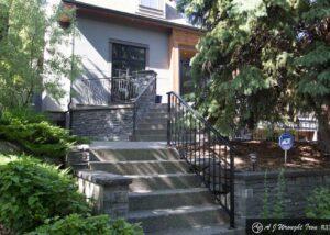 metal deck railing along steps