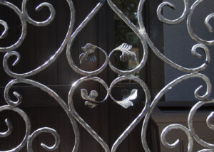 wrought iron gate leave motif