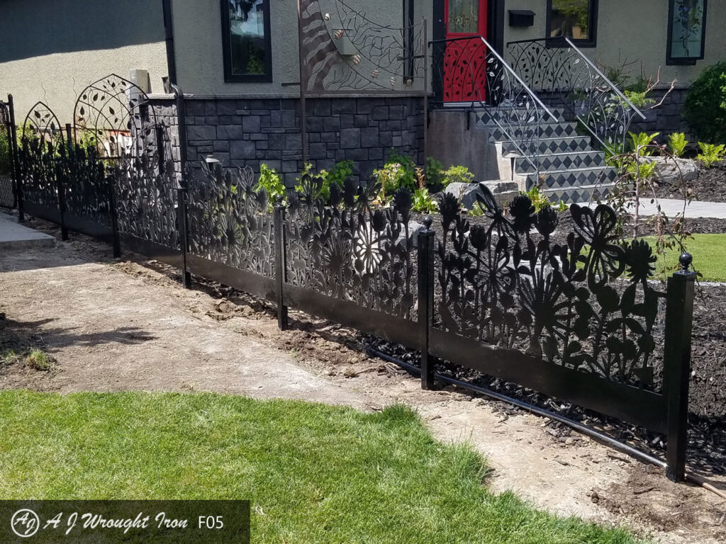 flowers pattern laser cut in metal garden fence