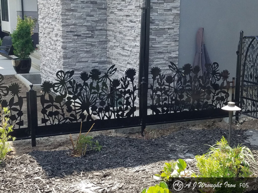 metal garden fence with laser cut flowers pattern