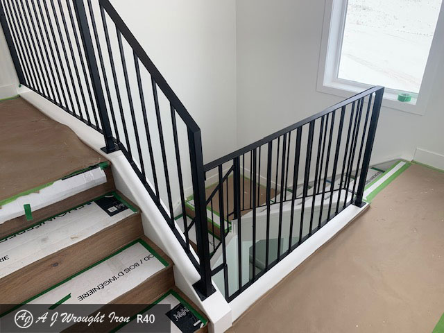 black metal stair railing