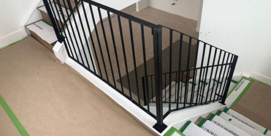 Simple metal staircase railing