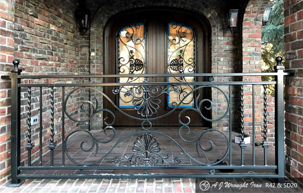 ornamental forged iron rail & security door