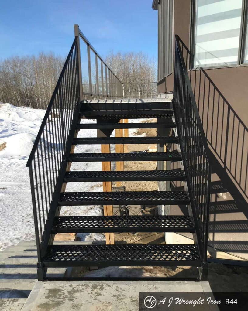 metal stairs and railing