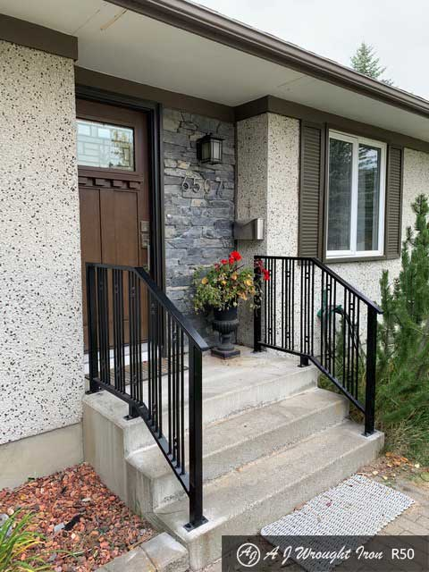 Iron Step Railing with quad Vertical Balusters