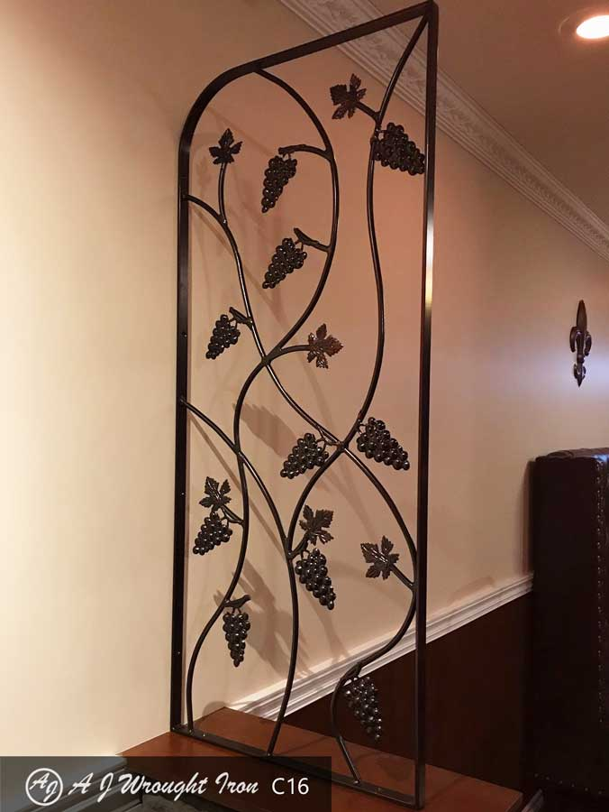 grape and vine wrought iron room divider