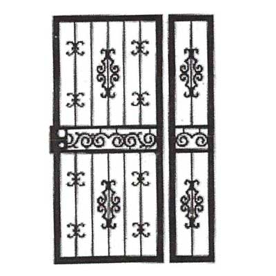 black and white storm door with side light - design drawing
