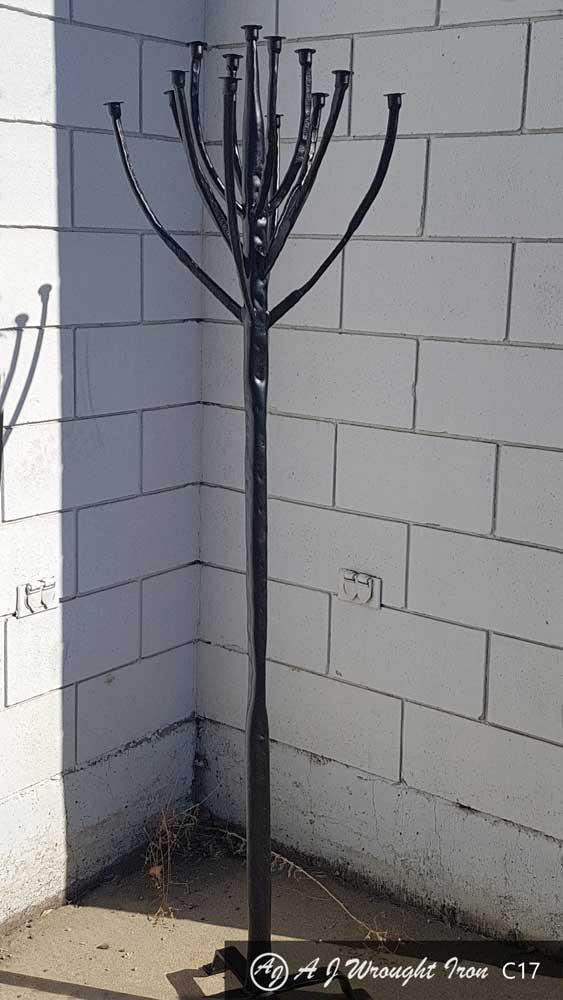 black hammered wrought iron candle opera